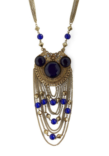 Avant-Garde Duty Necklace - Blue, Gold, Beads, Chain, Casual, Boho, Vintage Inspired, 60s, Statement, Cocktail, Holiday Party