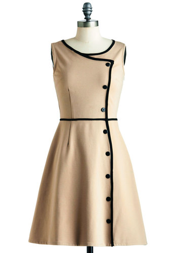 Chord-ially Yours Dress - Tan, Black, Solid, Buttons, Work, A-line, Sleeveless, Trim, Vintage Inspired, 50s, 60s, Mid-length