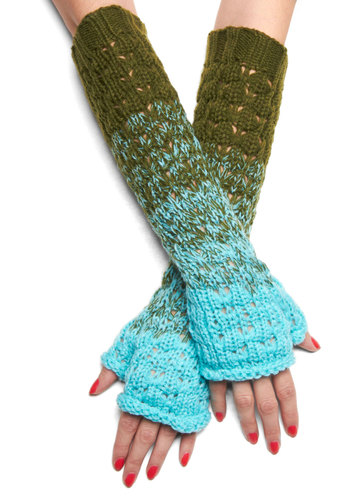 Ombre the Storm Wrist Warmers - Green, Blue, Knitted, Casual, Winter