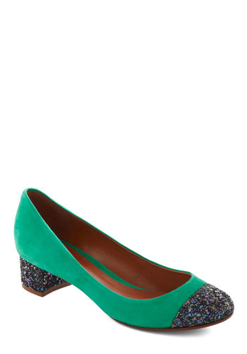 Confetti, Steady, Go Heel - Low, Green, Multi, Solid, Glitter, Party, Luxe, Statement, Holiday Party