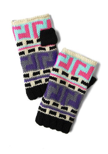 Chill in the Flair Gloves - Multi, Print, Winter, Knitted, Holiday Sale