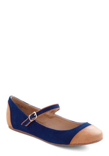 Dance Break Flat in Cobalt - Blue, Tan / Cream, Flat, Mary Jane, Casual, Vintage Inspired, Faux Leather, Variation