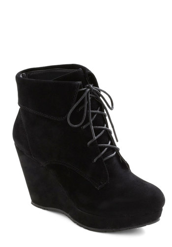 Ink It Over Boot - Black, Solid, High, Platform, Wedge, Lace Up, Party, Casual, Urban, Fall, Winter, Faux Leather, Mid