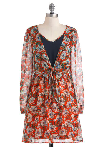 Dash of Flower Dress - Multi, Orange, Green, Blue, Floral, Casual, A-line, Long Sleeve, Fall, Sheer, Short, Belted, V Neck