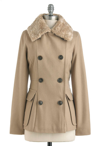 Spiced Latte Coat - Mid-length, 3, Tan, Brown, Solid, Buttons, Pockets, Long Sleeve, Casual, Fall, Double Breasted, Tis the Season Sale
