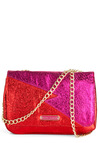 Betsey Johnson Zigzag-y Stardust Bag by Betsey Johnson - Pink, Gold, Cotton, Red, Party, Girls Night Out, Statement, Glitter, Cocktail, Holiday Party
