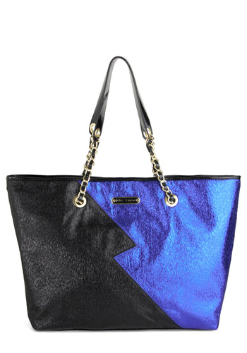 Betsey Johnson Zigzag-y Stardust Tote by Betsey Johnson - Cotton, Faux Leather, Black, Blue, Solid, Chain, Glitter