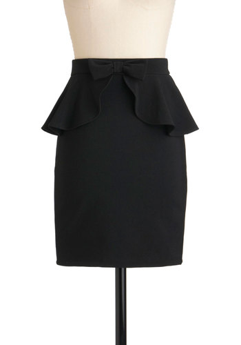 Penciled In Skirt - Black, Solid, Bows, Party, Work, Pencil, Peplum, Short