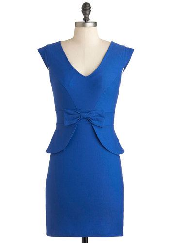 Panel Moderator Dress - Blue, Solid, Bows, Work, Vintage Inspired, Cap Sleeves, Mid-length, Peplum, 60s, Pinup