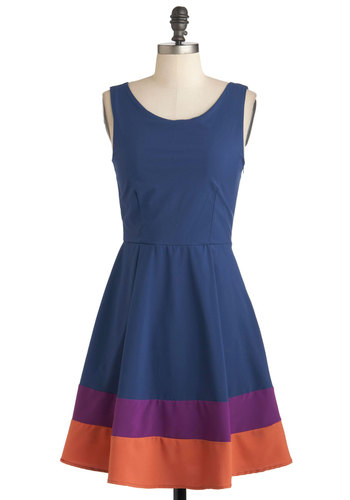 Plethora of Aplomb Dress - Blue, Orange, Purple, Cutout, Casual, A-line, Sleeveless, Mid-length, Colorblocking, Fit & Flare