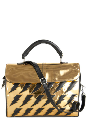 Betsey Johnson Dr. Zeus Bag by Betsey Johnson - Gold, Black, Print, Statement, Girls Night Out