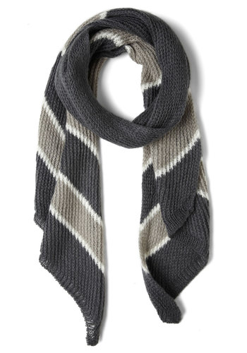 Stone Soup Scarf - Grey, White, Stripes, Casual, Winter