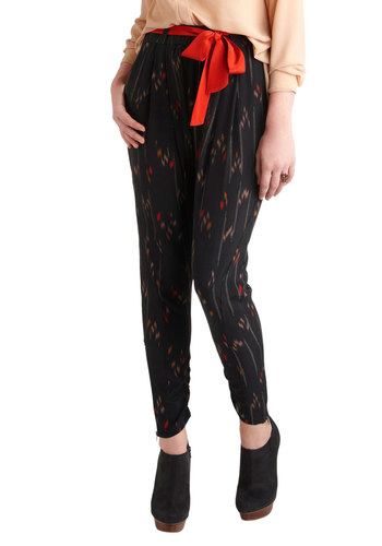Chaise Lounge Act Pants - Black, Red, Yellow, Tan / Cream, Exposed zipper, Pockets, 80s