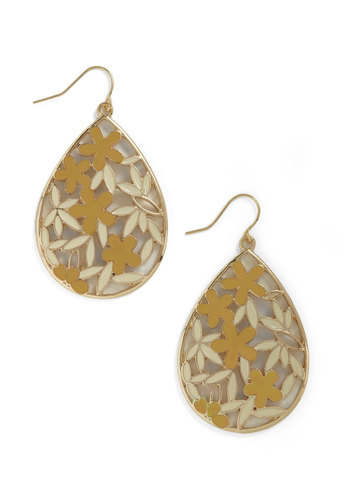 Droplets Dance Earrings in Cream and Marigold - Yellow, White, Gold, Floral, Party, Casual, Statement, Daytime Party