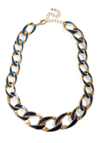 Chain-ging Tides Necklace - Blue, Gold, Party, Work, 80s