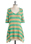 Mint Every Word Tunic - Tan / Cream, Stripes, Pockets, 3/4 Sleeve, Sheer, Mint, V Neck, Mid-length, Travel
