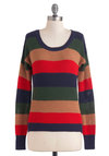 New England Tour Sweater - Multi, Red, Green, Blue, Tan / Cream, Stripes, Long Sleeve, Short, Cotton, Casual, Menswear Inspired, 90s, Fall