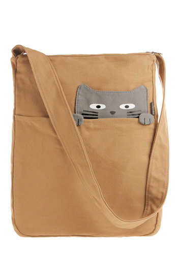Look What the Cat Bagged In Tote in Buddy - Cotton, Tan, Grey, Print with Animals, Kawaii, Casual, Quirky, Travel, Cats, Work
