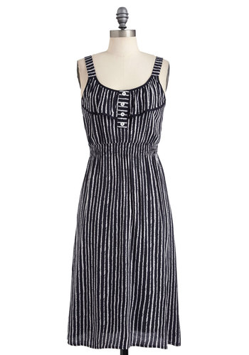 Lovely Lines Dress - Long, White, Stripes, Buttons, Casual, Maxi, Tank top (2 thick straps), Blue