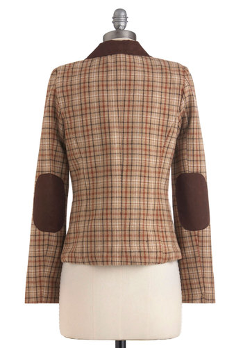 Grab the Reins Blazer - Tan, Brown, White, Plaid, Buttons, Pockets, Menswear Inspired, Long Sleeve, Mid-length, 2, Work, Casual, Scholastic/Collegiate, Holiday Sale