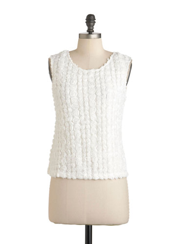 Rose for the Camera Top - White, Solid, Sleeveless, Short, Sheer, Party, Casual, Fairytale, Spring, Jersey, Daytime Party