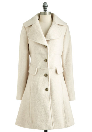 I Want Candytuft Coat - Cream, Solid, Buttons, Pockets, Long Sleeve, Winter, Long, 3, Party, Casual, Film Noir, Vintage Inspired