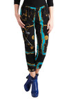 Chains Will Come Pants - Black, Blue, Gold, Print, Pleats, Pockets, Party, Casual, 80s, Cropped