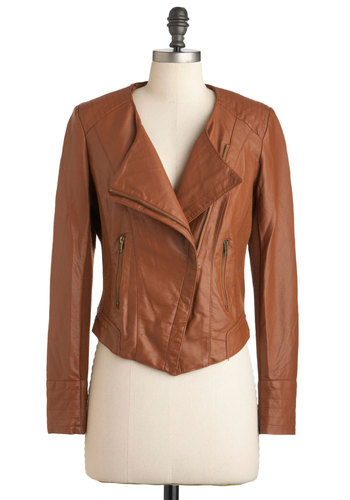 Self Espresso Jacket - Faux Leather, Brown, Solid, Pockets, Long Sleeve, 2, Casual, Safari, Fall, Short