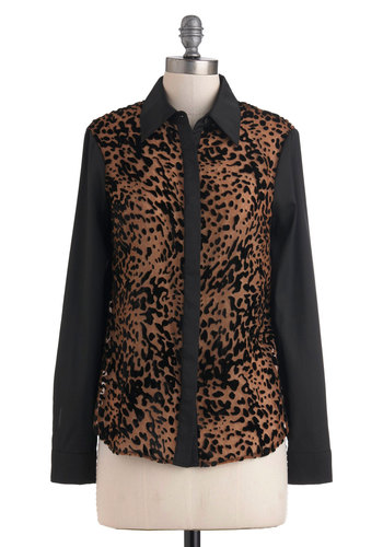 Just Fur Tonight Top - Mid-length, Sheer, Black, Brown, Animal Print, Buttons, Long Sleeve, Party, Statement, Button Down, Collared