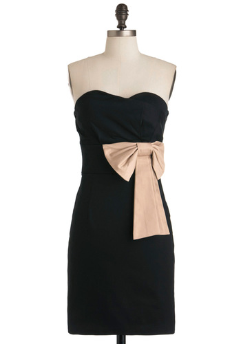 Evening Reservations Dress - Black, Pink, Bows, Sheath / Shift, Strapless, Party, Solid, Mid-length, Cocktail, Holiday Party, Cotton, Best Seller, Sweetheart, Formal