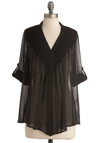 As Night Falls Top - Mid-length, Black, Solid, 3/4 Sleeve, Party, Sheer