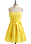 Zest is More Dress - Yellow, Solid, A-line, Strapless, Summer, Mid-length, Belted, Best Seller, Fit & Flare, Sweetheart, Variation, Prom, Wedding, Graduation, Bridesmaid