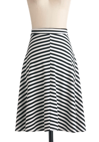 Major Win Skirt - Long, Stripes, A-line, Black, White, Casual, Nautical, Steampunk, Jersey