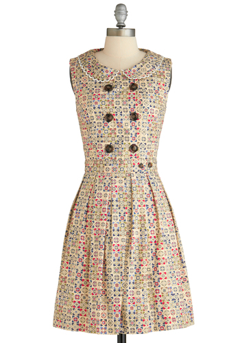 Red-y for Tea Dress in Medallion by Dear Creatures - Mid-length, Cotton, Multi, Red, Blue, Tan / Cream, Print, Buttons, Peter Pan Collar, Vintage Inspired, A-line, Sleeveless, Collared, Fit & Flare