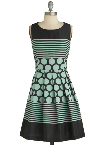 Dessert Tray Dress by Eva Franco - Mid-length, Black, Polka Dots, Stripes, Pleats, Party, Fit & Flare, Green, Sleeveless, Pastel, Cocktail, Mint, Tis the Season Sale