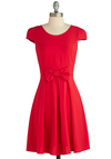 Candy Apple Cute Dress - Mid-length, Red, Solid, Backless, Bows, Party, Fit & Flare, Cap Sleeves, Exclusives, Valentine's, Work