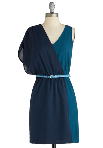Sample 2279 - Blue, Belted, Party, Sheath / Shift, Short Sleeves, Tank top (2 thick straps), Colorblocking