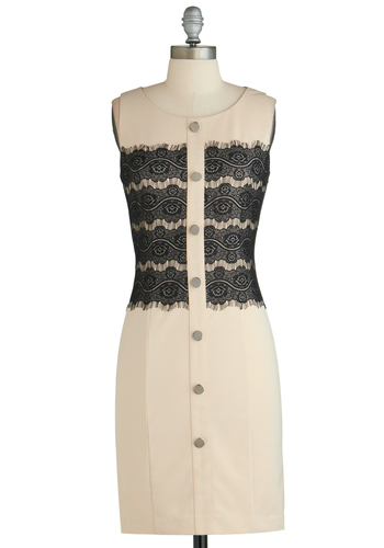 Sample 2283 - Cream, Black, Buttons, Lace, Party, Cocktail, Film Noir, Sheath / Shift, Sleeveless, Lace