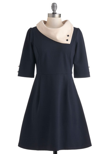 Parisian Port Dress in Navy by Miss Patina - Mid-length, Blue, Tan / Cream, Buttons, Work, Colorblocking, A-line, 3/4 Sleeve, Vintage Inspired, 60s, Mod, French / Victorian, Fit & Flare, Variation, International Designer