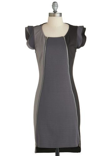 Sample 2285 - Grey, Black, Exposed zipper, Party, Sheath / Shift, Cap Sleeves