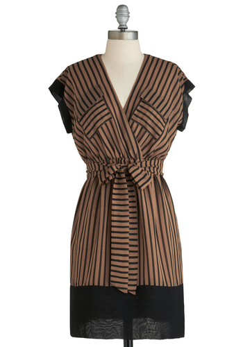 Sample 2289 - Tan, Black, Stripes, Pockets, Trim, Belted, Party, A-line, Short Sleeves