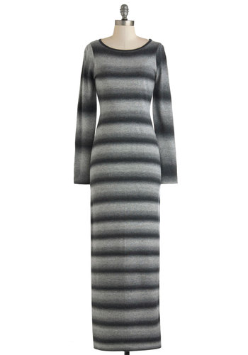 Monochrome Moxie Dress by BB Dakota - Long, Grey, Stripes, Casual, Maxi, Long Sleeve, Rustic