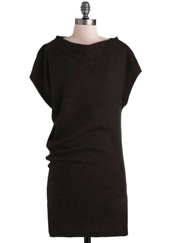 A New Angle Dress in Black - Short, Black, Solid, Casual, Vintage Inspired, 60s, Sweater Dress, Short Sleeves, Fall, Scholastic/Collegiate, Cowl, Minimal