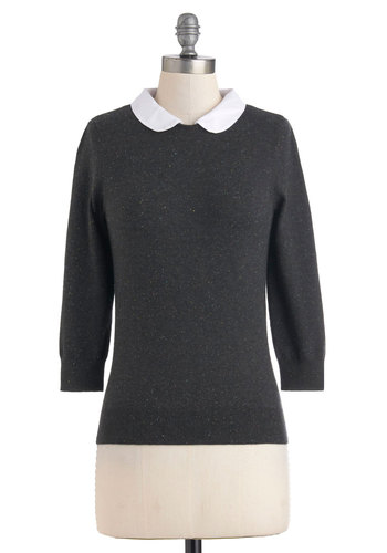 Confetti Confessions Sweater in Charcoal - Black, White, Peter Pan Collar, Cotton, Mid-length, Work, Scholastic/Collegiate, Winter, Collared, 3/4 Sleeve