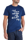 When Last We Spokes Men's Tee - Blue, White, Short Sleeves, Jersey, Cotton, Mid-length, Casual, Quirky