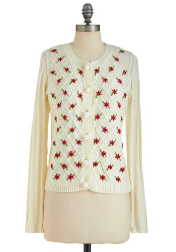 Cardi All the Time - Mid-length, Cream, Red, Green, Buttons, Embroidery, Long Sleeve, Floral, Casual, Vintage Inspired, Button Down