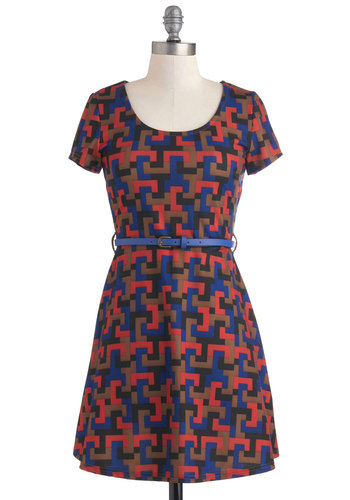 Interlocking Up Dress - Short, Multi, Red, Blue, Brown, Black, Print, Exposed zipper, Belted, Casual, A-line, Short Sleeves, Cutout