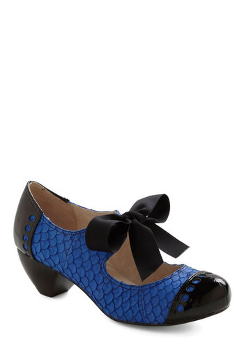Bow'n Places Heel in Blue - Blue, Animal Print, Black, Bows, Party, Vintage Inspired, Mid, Leather, Mary Jane, Variation