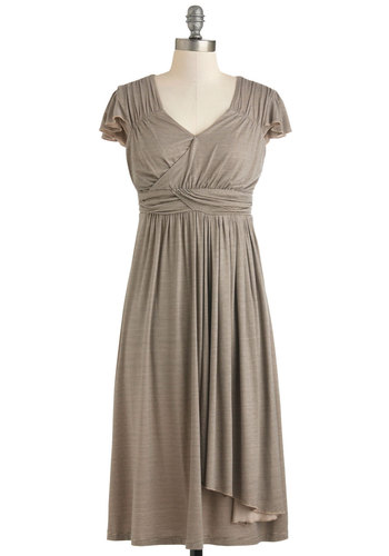 The Terra Dress in Stripes - Long, Jersey, Grey, Stripes, Ruching, Casual, Cap Sleeves, Variation