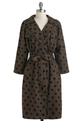 Dots a Wrap Coat - Long, Brown, Black, Polka Dots, Pockets, Belted, Long Sleeve, 1, Fall, Double Breasted
